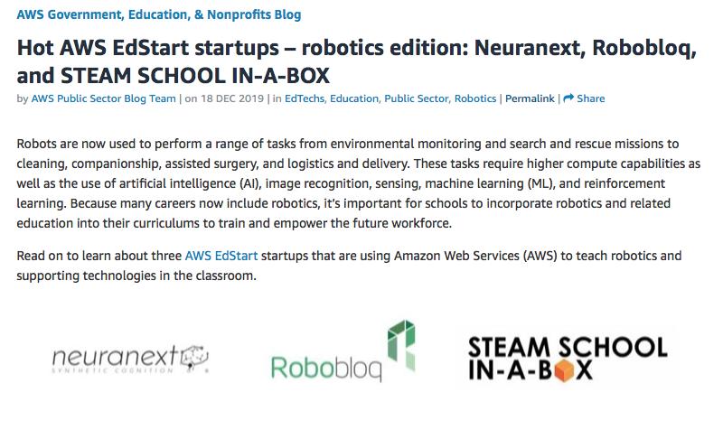 AWS identify Neuranext as a Hot Edstart Startup in new blog!