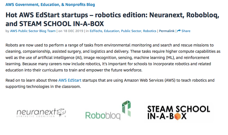 AWS identify Neuranext as a Hot Edstart Startup in new blog!